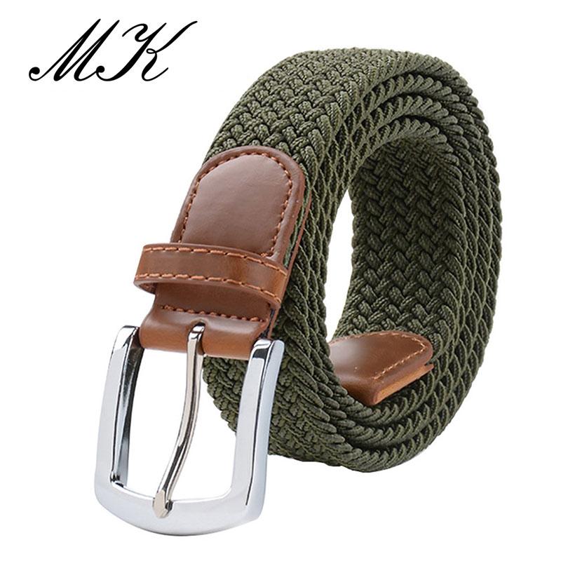 MaiKun мужские ремни с металлической пряжкой булавки эластичный мужской ремень армейский тактический ремень для мужчин - Цвет: Armygreen