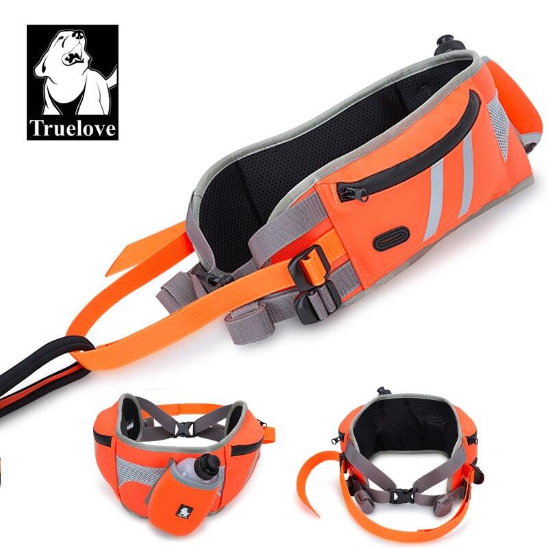 Truelove main libre chien Jogging ceinture course marche entraînement ceinture réglable avec bouteille d'eau chien taille ceinture pour Camping voyage