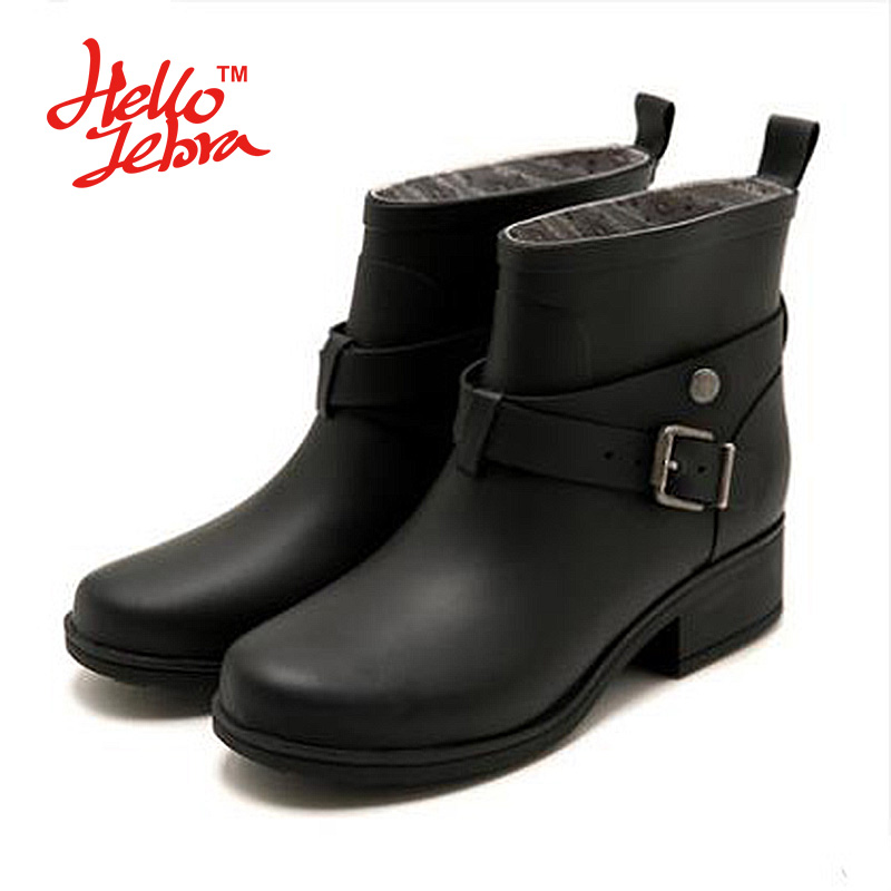 Hellozebra Women Rain Boots Solid Buckle Nubuck Leather Plain Slip On Ankle Waterproof  Buckle Rainboots 2016 New Fashion Design women tall rain boots ladies low hoof heels waterproof graffiti buckle high nubuck round toe rainboots 2016 new fashion design