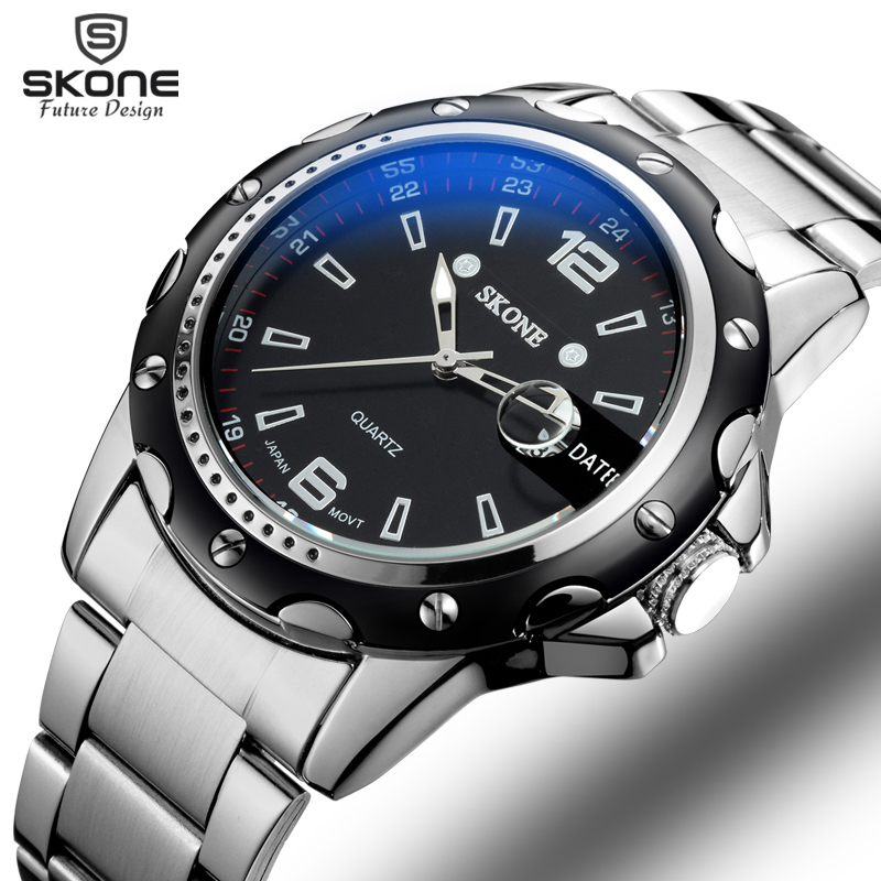 Skone Auto Date Silver Watches Men Luxury Brand Steel Band Quartz Movt Fashion Casual Business Watch Male relogios masculinos rosra brand men luxury dress gold dial full steel band business watches new fashion male casual wristwatch free shipping