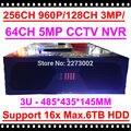 256CH HKES 2017 Chegada Nova CCTV NVR 960 P 3MP 128CH NVR 64CH 5MP, apoio max. 16 pcs 6 TB HDD, 3U Invólucro