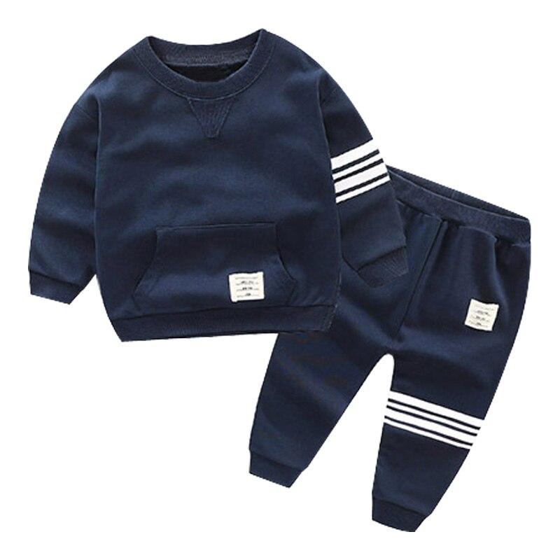 Boys Kid Autumn Winter 2018 Children Clothing 2pcs Sets Hooded Coat+pants Fashion Suit Fall Cotton Sport Tracksuit Outdoor 3-10Y