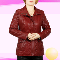 3XL 6XL Pu Leather Jacket Women Square Collar Zipper Middle Aged Mothers Clothes Plus Size Solid