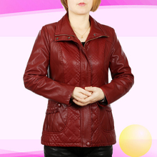 3XL-6XL Pu Veste En Cuir Femmes Col Carré Fermeture Éclair D'âge Moyen Mère Vêtements Plus La Taille Solide Manteau Printemps Et Automne J281