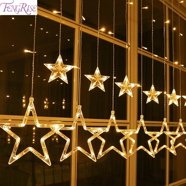 Fengrise Led String Warm White Christmas Ornaments Fairy Christmas Lights Outdoor Star Garland Led Curtain New