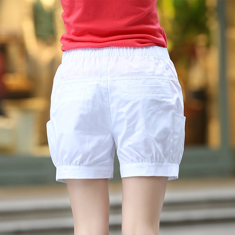 Plus Size 5XL Women Summer   Shorts   Solid Pocket Elastic High Elastic Waist   Short   Femme Linen   Shorts   Casual Loose Harem   Shorts