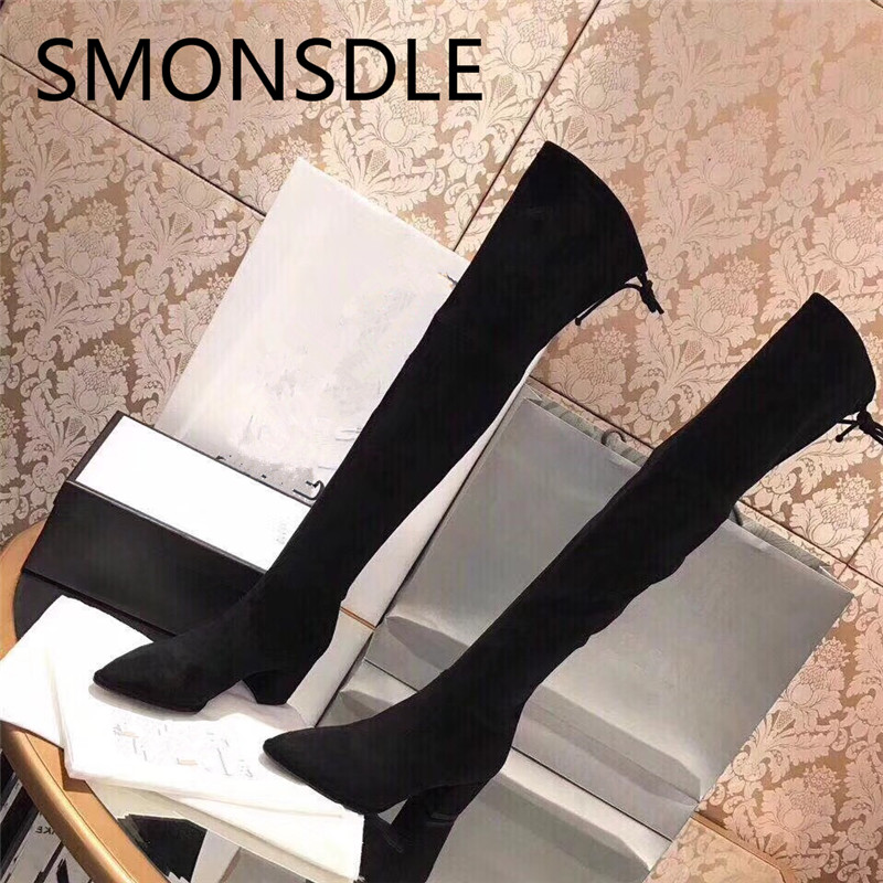 SMONSDLE New Fashion Kid Suede Chunky Heel Over the Knee Women Boots Pointed Toe Lace Up Women Autumn Winter Boots Shoes Woman