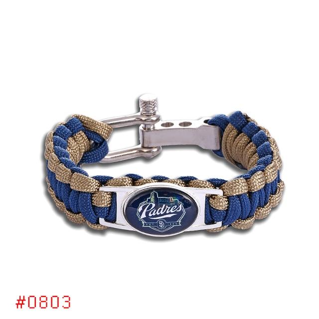 San Go Padres Custom Paracord Bracelet Baseball Charm Survival Drop Shipping 1pcs