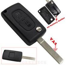 Хорошее качество Флип Дистанционное Ключевые Shell 2 Кнопка для Peugeot Без BatteryHolder для PEUGEOT 307 307 S 308 407 607 207 VA2 с логотип