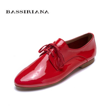 Flats shoes woman Patent leather Round toe Basic model Red yellow Blue Silver Sheepskin 35-40 Free shipping BASSIRIANA