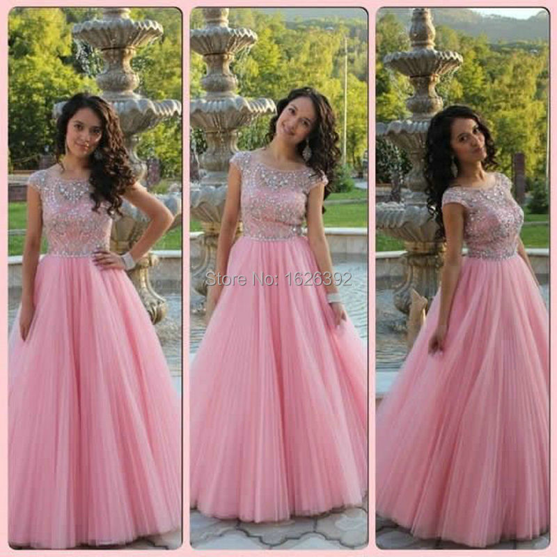 52fc3887e863e Boutique Chic Beaded Elegant Pink Tulle Prom Dresses Evening Gowns ...