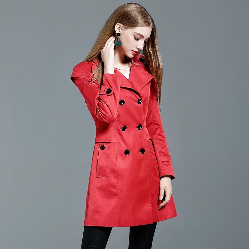 rouge Manteau Moyen kaki Longueur Slim Livraison Rouge Femmes L'europe Trench Khakiskirt Noir Nouveau 4xl Gratuite Double Élégant Dames Fit Breasted qzUHzd