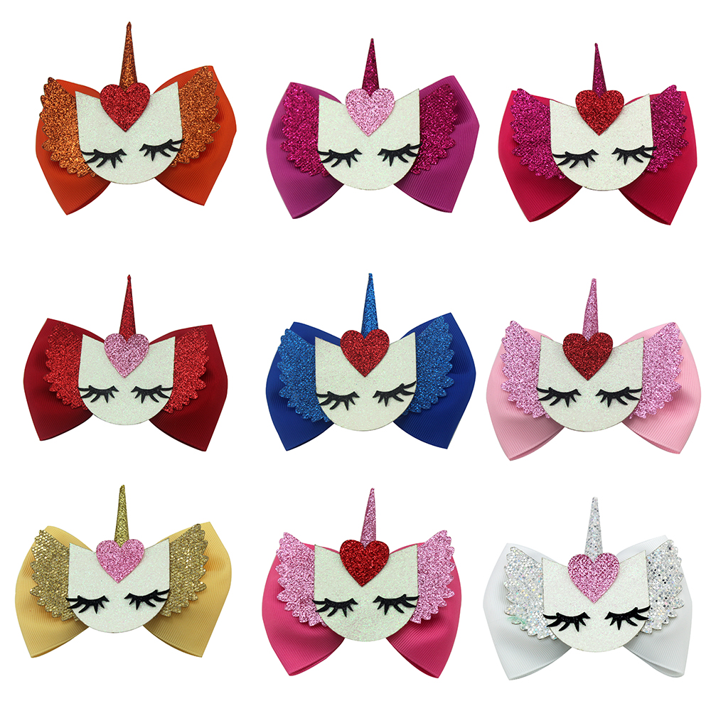 Adogirl 9PCS 4 Love Heart Rainbow Unicorn Hair Bows Various Colors Cartoon Hairpins Handmade Hair Accessories for School Girls