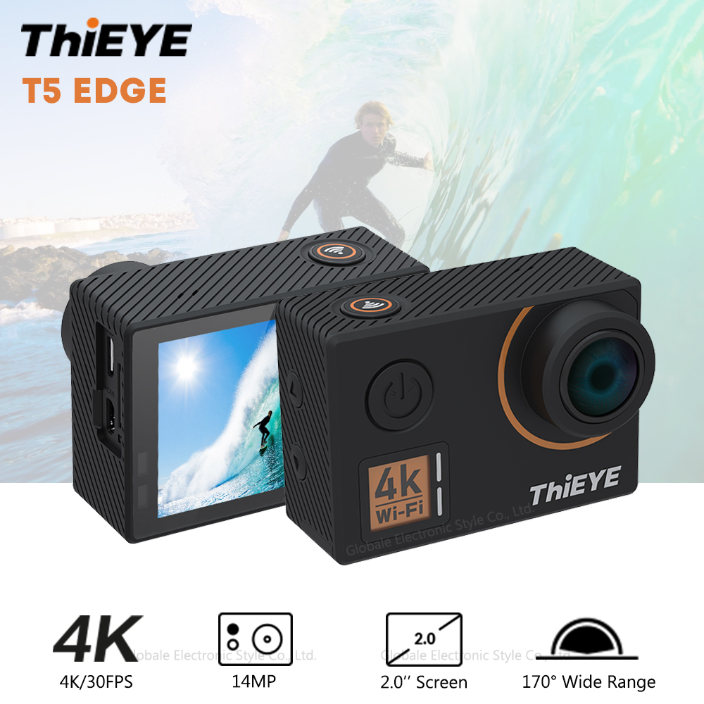 ThiEYE T5 Edge Sport Action Camera 4K 30FPS 14MP Waterproof IP68 WiFi Voice Control with Microphone 2 inch Screen thieye t5e wifi 4k action camera black