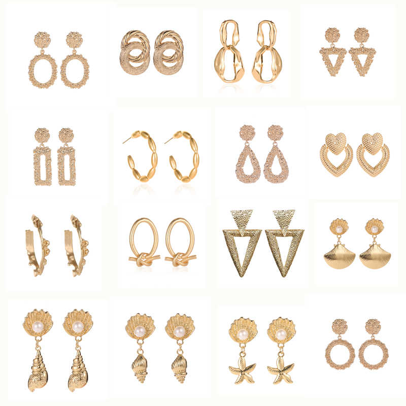 Fashion Statement Vintage Earrings 2019 Big Geometric earrings For Women Hanging Dangle Earrings Drop Earrings modern Jewelry