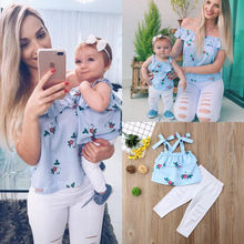 Floral Mother and Daughter Matching Outfits Striped Tops Hole Pants 2Pcs Clothes