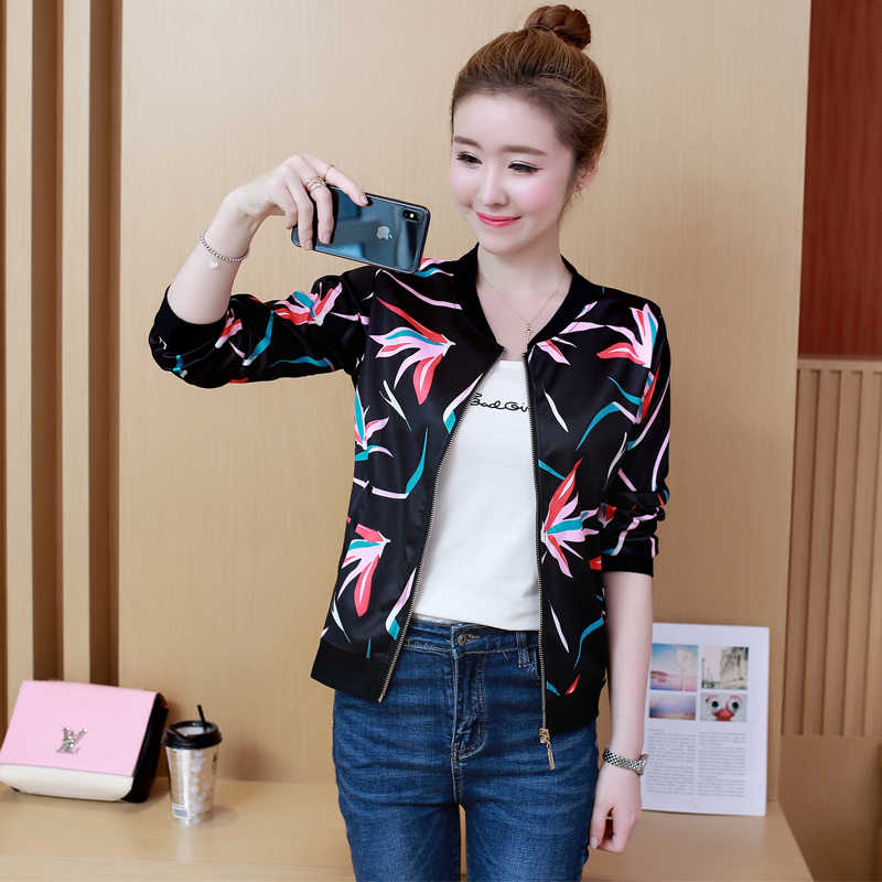 2019 Spring Fashion Bomber Jacket Women Long Sleeve Basic Coats Casual Thin Slim Outerwear Short Pilot Bomber Jackets Plue Size