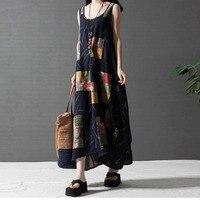 BBYES Summer Women Crew Neck Dress Ladies Sleeveless Printed Loose Long Maxi Dress Vintage Boho Style