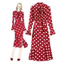 Unique Design Fashion Boutique Womens Red Dress Spring Summer Slim fit Mermaid Polka Dot