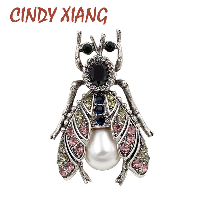 CINDY XIANG New 2018 Fashion Vintage Beetle Brooches for Women Cute Black Insect