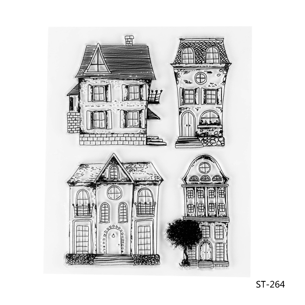 Buildings Transparent Clear Silicone Stamp/seal for DIY Scrapbooking/photo Album Decorative Clear Stamp Sheets. lovely animals and ballon design transparent clear silicone stamp for diy scrapbooking photo album clear stamp cl 278