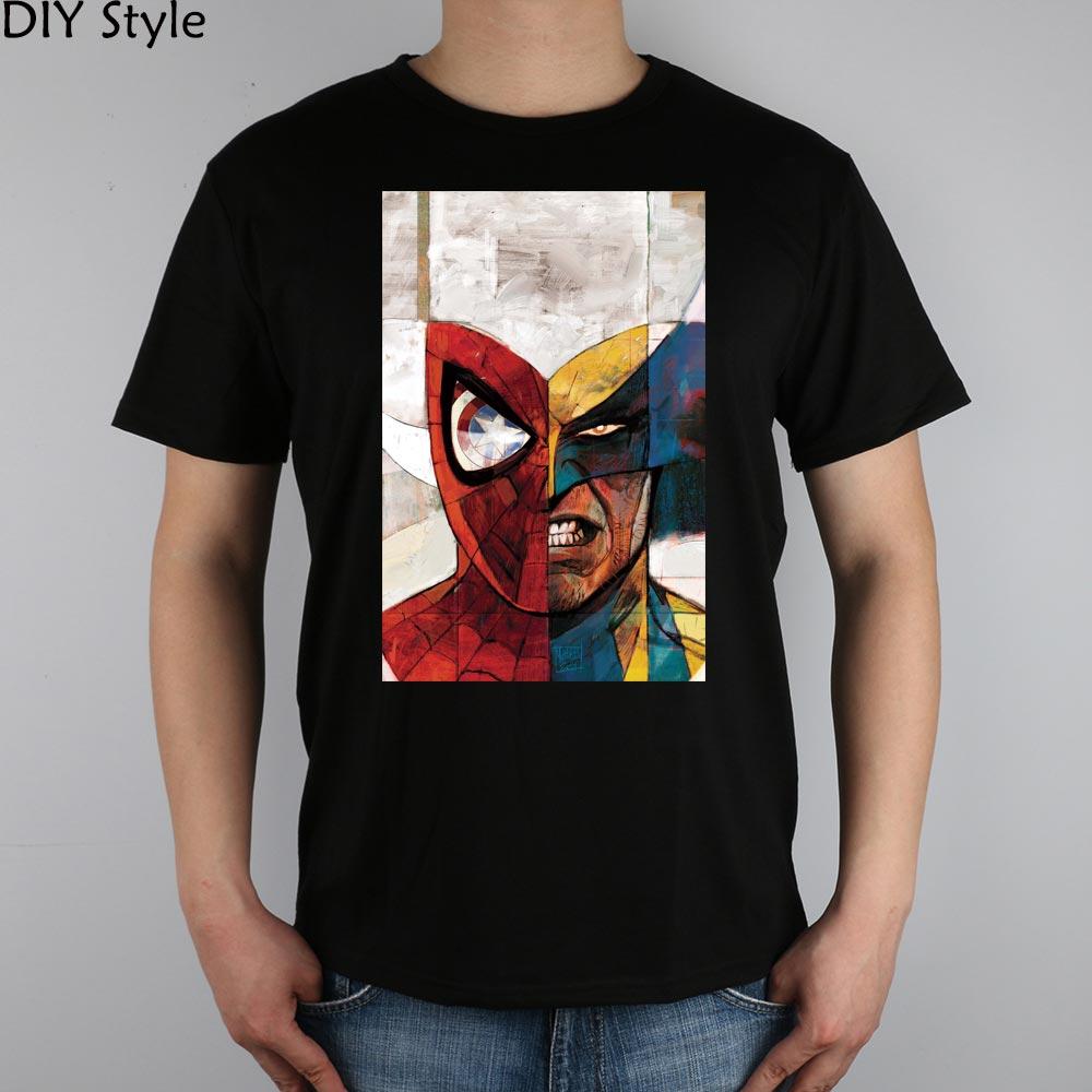 SUPER HERO FACE WOLVERIN X MEN LOGO short sleeve T-shirt Top Lycra Cotton Men T shirt New DIY Style
