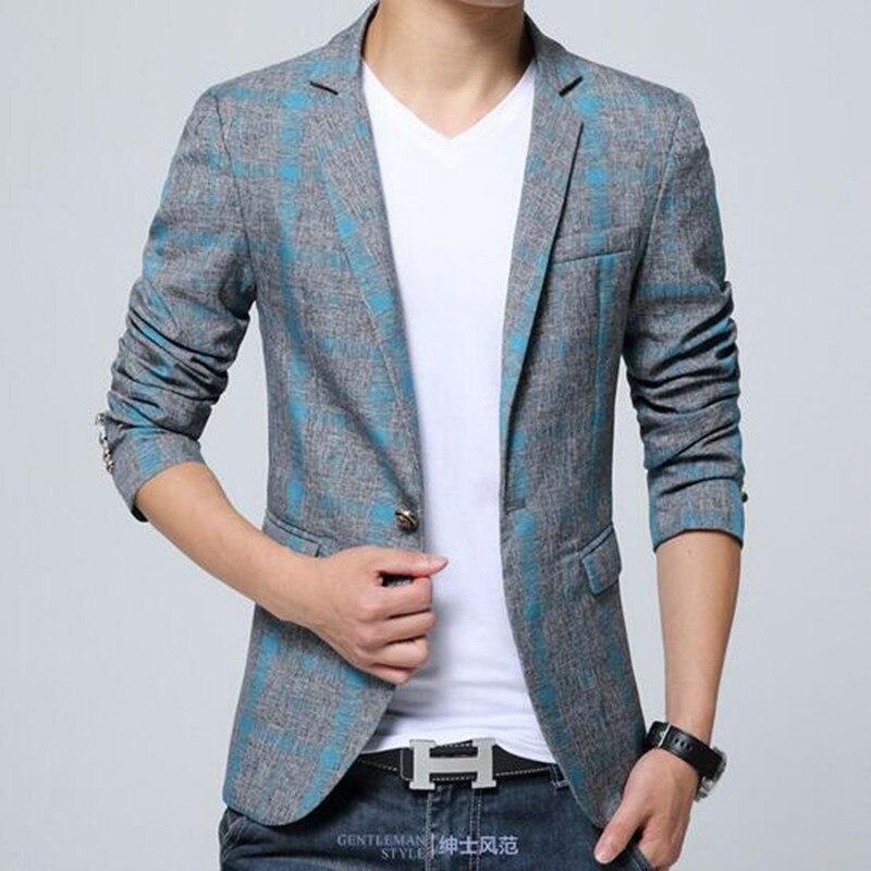 2017 Men S Blazer Suit Jacket Fashion Man Plaid Blazer Style Casual