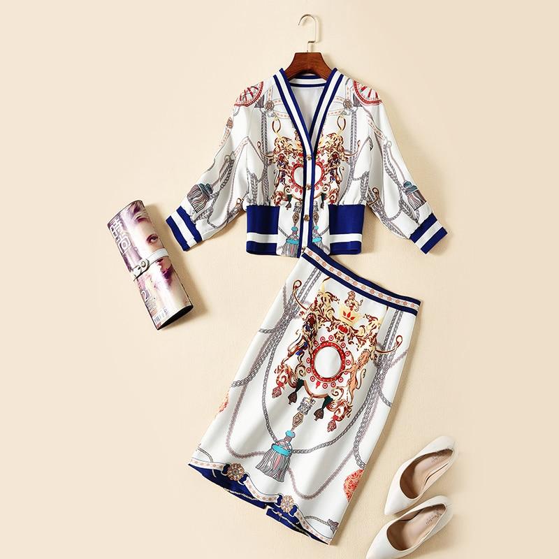 und Anzug Jacke Taschen weibliche Rock Neue Langarm europ Socialite V Ausschnitt zweiteilig der braunweiblau ischen amerikanischen Hip Temperament kXiOPuZ