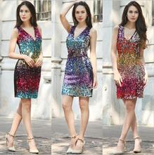2017 flare   Women's clothing nem Summer Sexy&Club  Sleeveless Sheath Backless Bodycom Sequins Metal color V_Neck vestidos
