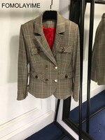 FOMOLAYIME Для женщин блейзер 2018 Европейская мода плед офисные пиджаки Пальто