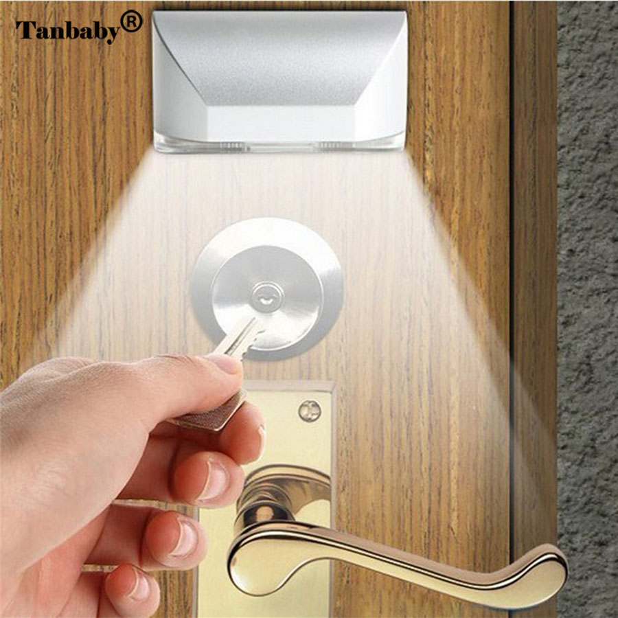 Tanbaby 4 LED PIR Motion Sensor Door Keyhole Light Battery Operated White Bright Night Lamp Stick-on Anywhere Closet Drawer bulb wireless led wall stick anywhere energy saving human body sensor motion sensing night light lamp decoration door