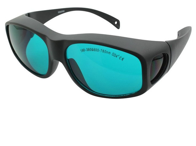 Free Shipping  5pcs 190-380 & 600-760nm laser safety eyewear O.D 4+ CE certified high VLT%> 65% for 266, 635, 650nm laser
