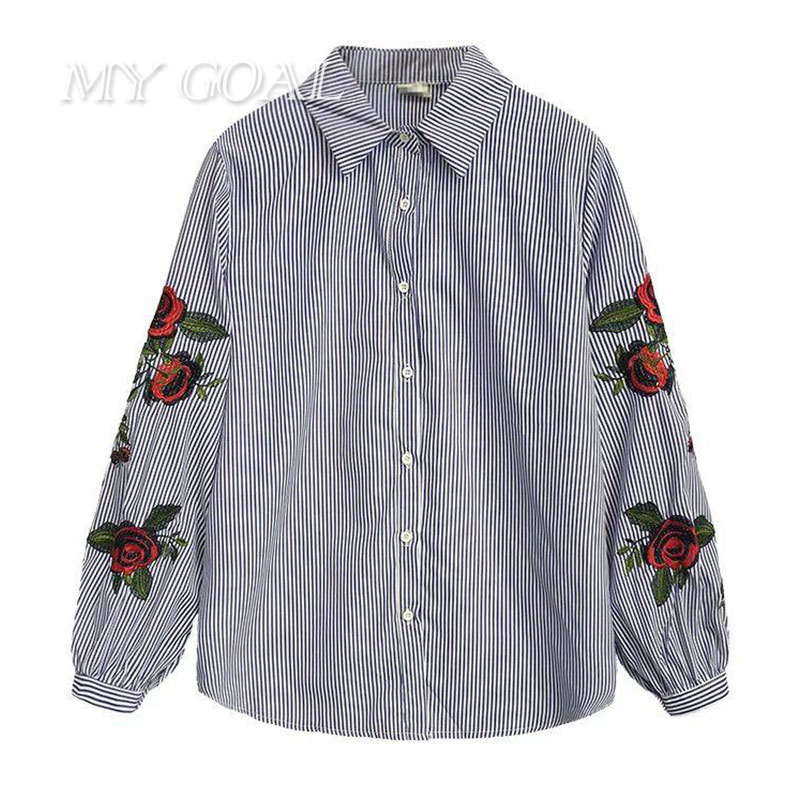beauti wardrobe Store Women Shirt Casual Cotton White Blouse Shirts Fashion Lady Loose Rose Floral Embroidered Striped Female Shirt