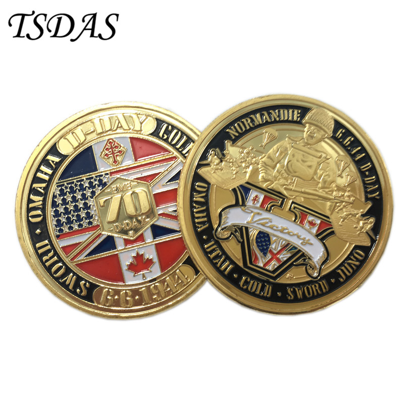 Armistic Day Commemorative War Coin American 24k Gold Plated Con with Gift Box