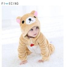 Bebê anime traje urso kigurumis animal cosplay outfit fantasia flanela bonito macio macacão da criança menino meninas terno de inverno