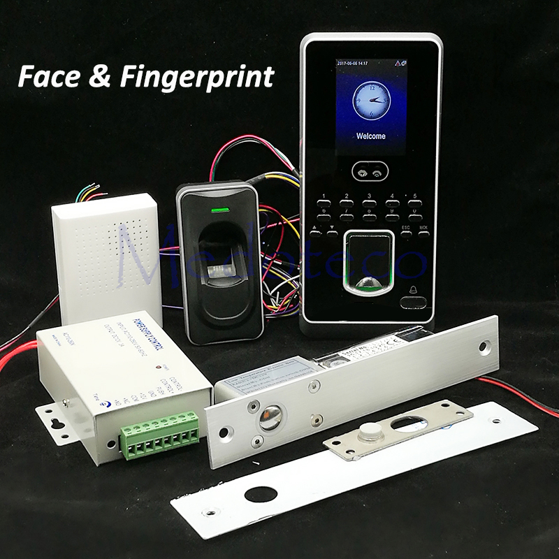 DIY Face Access Control System Kit Fingerprint Door Access Control Set +FR1200 Fingerprint Reader +Eletric Bolt Lock Wooden door