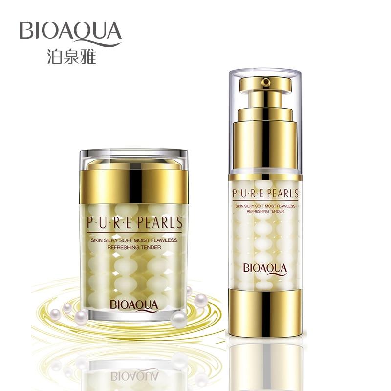 2Pcs Lot BIOAQUA Pure Pearl Face Cream Essence Hyaluronic Acid Deep Moisturizing Skin Care Anti Wrinkle