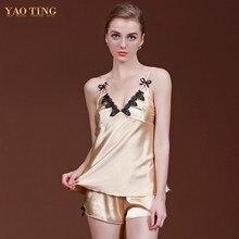 2 Pcs Summer Women Pajamas Pijamas Sets Silk Satin Nightgown Sleepwear Lace Sexy Pyjamas Robes Bathrobes Longue Femme 027