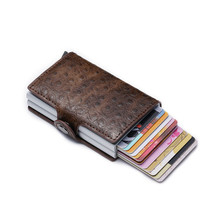 Bycobecy New Men And Women Metal RFID Vintage Travel Card Wallet Womens Purse PU With Business Holders 2019