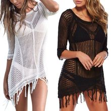 Womens 3/4 Sleeves Bikini Cover Up Hollow Out Crochet Pullover Mini Beach Dress Tassels Trim Low Cut Sheer Asymmetric Blouse Top
