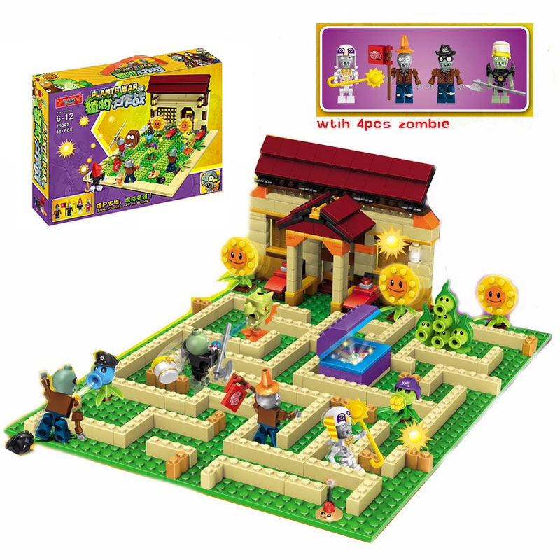 2018 New 2 style plants vs zombies Set Anime Garden Maze Struck Game Building Blocks Bricks Compatible With Legoingly gifts 385pcs plants vs zombies garden maze struck game building blocks bricks toys for children gift with 4 pcs zombie tk0166
