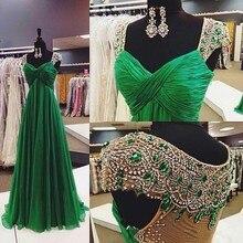 Новые Роскошные Длинные вечерние расшитые бисером Robe De Soiree отвесная спина зеленый vestido de festa Vestido Longo вечерние платья для мамы и невесты