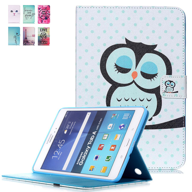 For Samsung Galaxy Tab A 8.0 SM-T350 T351 Case Smart Stand Flip Tablet Cover Kids Case w/Card Slots Screen Protector+Stylus Pen