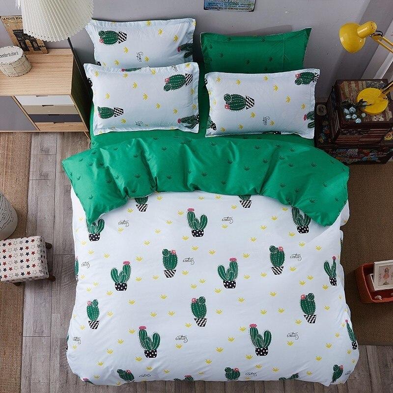 Green Cactus Sheet Pillowcase Duvet Cover Set New Pastoral Bedding Set Modern Bed Linen Autumn Bedclothes 3/4pcs /set Kids Set