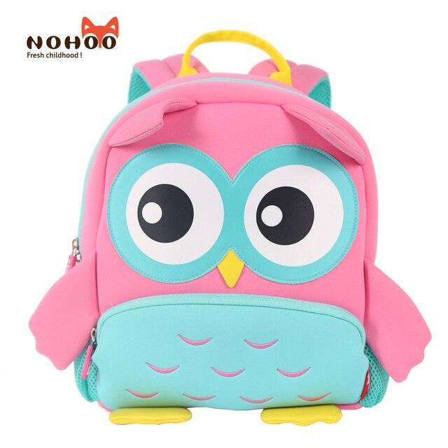 NOHOO Neoprene Children 3D Kids bag Cute Animal Design Backpack Toddler Kid  School Bags Kindergarten Cartoon Bag Owl Mochila