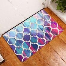 CAMMITEVER Geometric Hexagon Blue Purple Brown Pink Rainbow Mat Rug Bedroom Area Rectangle Mats