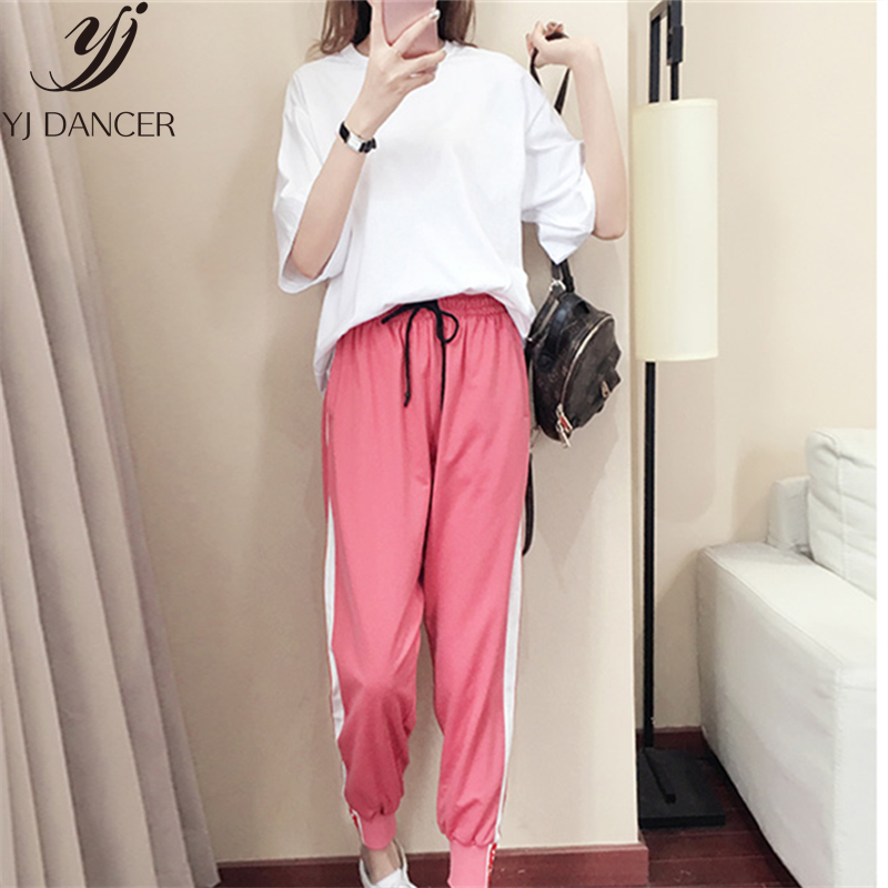 Casual Two-Piece Suit Female Summer 2019 New Loose Fashion Bf Harajuku Style Hip-Hop Round Neck Short-Sleeved Casual Suit H00450