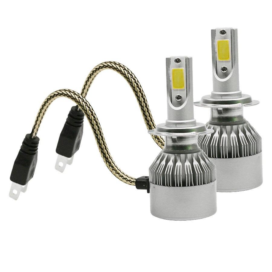 Prix pour 2 pcs De Voiture Phares 72 W 7600LM Led Ampoules H7 Automobiles Projecteur 6000 K Brouillard Lampes Lumières Extérieures Source c6 Nouveau Blanc