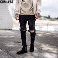 2016 Марка Мужчины Kanye West Представляют Же Джинсы Мужские Светло-Голубой/Черный Дизайнер Рок-Звезда Уничтожено Ripped Тощий Проблемные джинсы