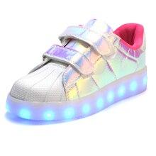 Mode Enfants LED light up Shoes Pour Enfants Sneakers Mode USB De Charge Lumineux Lumineux Garçon Fille Sport Casual Enfant Shoes
